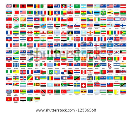 257 World country flags alphabetically order white background
