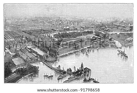 World exhibition building Chicago 1893 / illustration from Meyers Konversations-Lexikon 1897