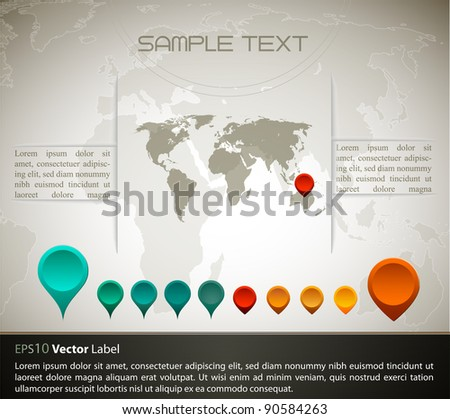World map with set of gps indicator button