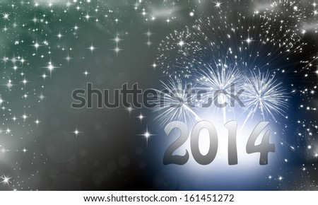 2014 written on abstract background with starts and fireworks