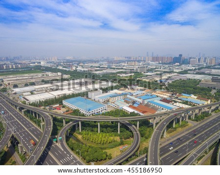 Wuxi, China, Aerial view of a modern highway overpass #455186950