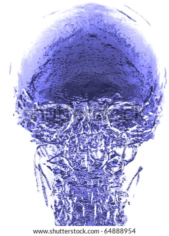 x-ray 3d blue skull - stock photo
