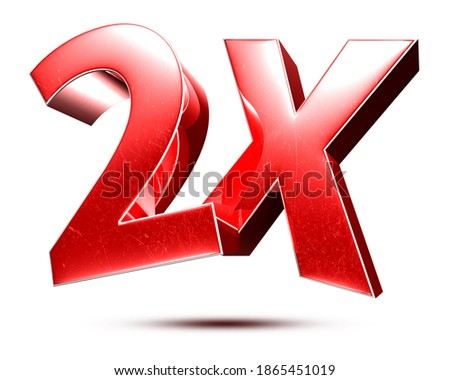 2x red isolated on white background illustration 3D rendering with clipping path. Сток-фото ©