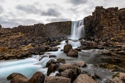 Öxarárfoss - Oxararfoss in Thingvellir National Park, South Region, Iceland, part of the famous golden circle