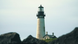 Yaquina Head Lighthouse in Newport, Oregon, USA