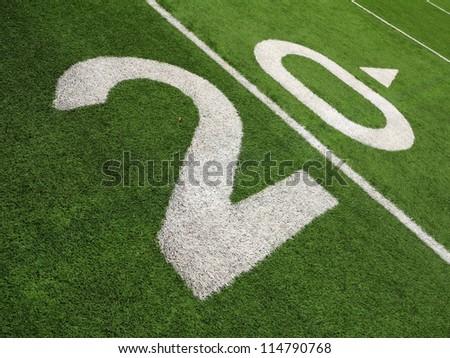 20-yard line on a football field