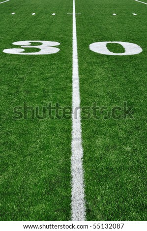 30 Yard Line on American Football Field and Hash Marks