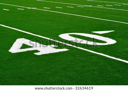 40 Yard Line on American Football Field, Copy Space