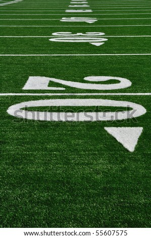 20 Yard Line on American Football Field, Copy Space, vertical