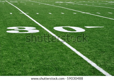30 Yard Line on American Football Field with Hash Marks