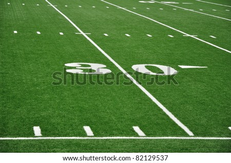 30 Yard Line on American Football Field with Hash Marks and Sideline