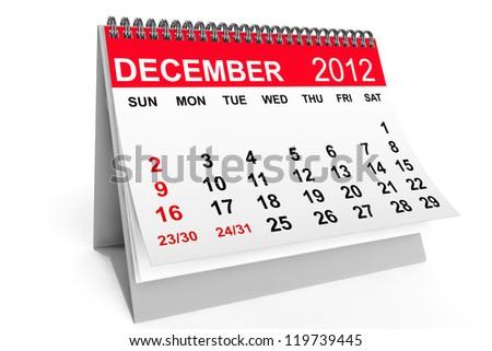 2012 year calendar. December calendar on a white background