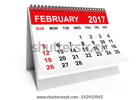 2017 year calendar. February calendar on a white background. 3d rendering