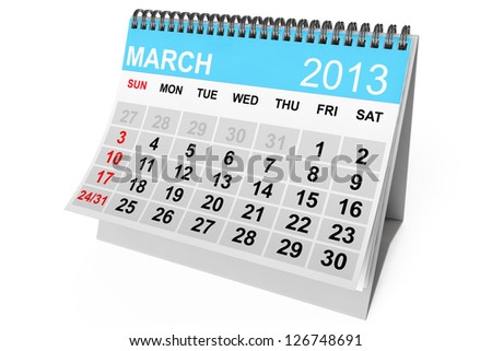 2013 year calendar. March calendar on a white background