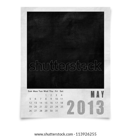 2013 year calendar ,May on blank photo frame isolated on white