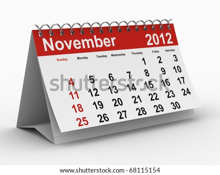 2012 year calendar. November. Isolated 3D image