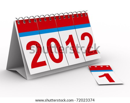 2012 year calendar on white background. Isolated 3D image