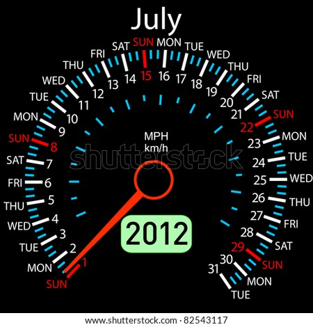 2012 year Calendar speedometer car. July.