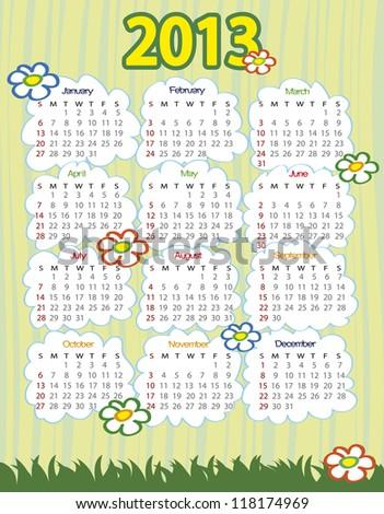 2013 year calendar (week starts on Sunday)