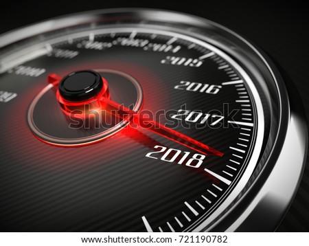 2018 year car speedometer concept. 3d rendering