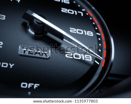 2019 year car speedometer countdown concept. 3d rendering illustration