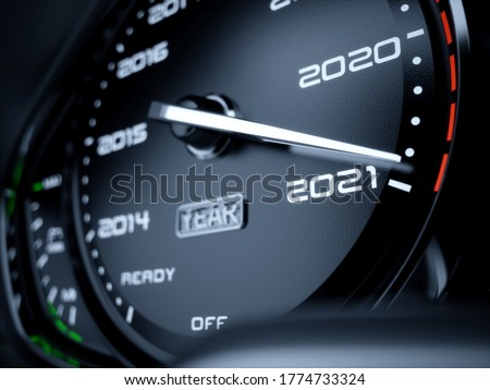 2021 year car speedometer countdown concept. 3d rendering illustration