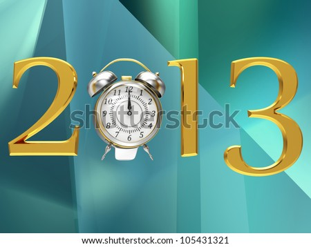 2013 year golden inscription on the abstract background