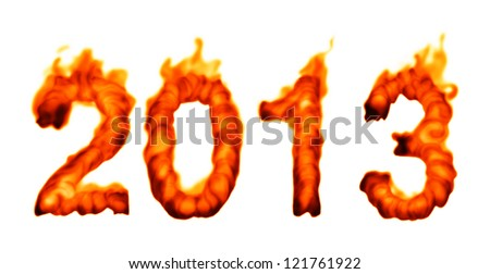 2013 year in fire on white background - stock photo