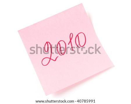2010 year message on pink sticker