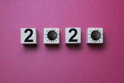 2020 year of corona virus written on wooden boxes