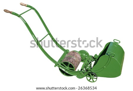 100 Year Old American Antique Lawnmower isolated with clipping path