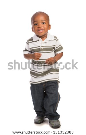 African american child standing 2 year old baby boy standing