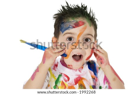 3 year old boy covered in paint.  Clipping path. Over white. - stock photo