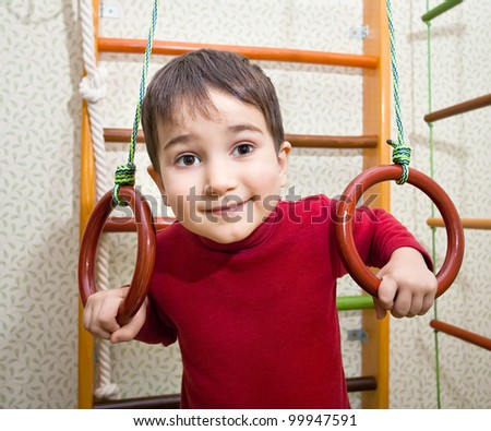 3 year old child at home sport gym