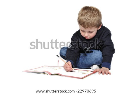 4 year old, doing preschool work.