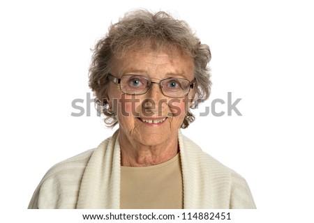 80 Year Old Elderly Senior Happy Portrait Headshot Isolated on White Background
