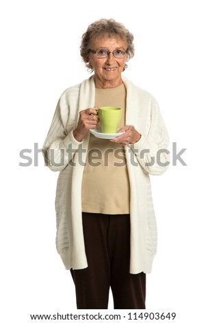 80 Year Old Elderly Senior Holding Coffee Cup Smiling Isolated on White Background