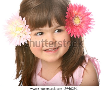 4-Year-Old Girl with a Happy Expression Isolated on a White Background