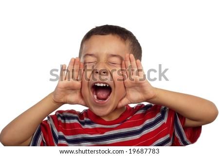 5-year-old hispanic boy shouting