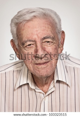 90 year old senior old man serious expression portrait