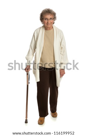 80 Year Old Woman Walking with Cane Isolated on White Background
