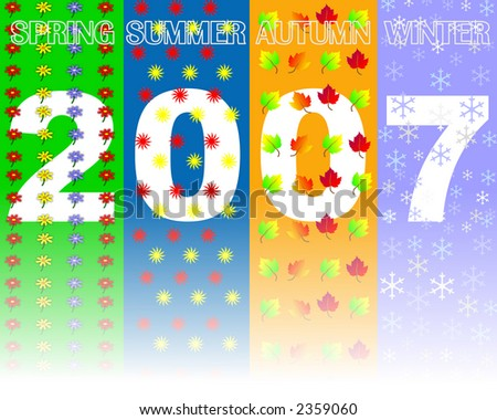 2007 Year seasons concept showing full Spring ,Summer, Autumn and winter