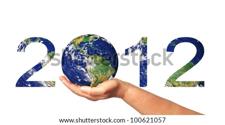 2012 year with Earth in arm - stock photo