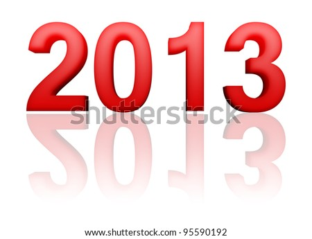 2013 year with reflection on white background