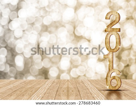 2016 year wood number in perspective room with sparkling bokeh wall and wooden plank floor #278683460