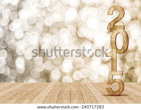 2015 year wood number in perspective room with sparkling bokeh wall and wooden plank floor,Leave space for adding your content #240717283