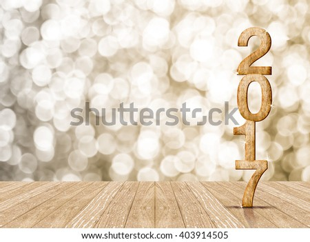 2017 year wood number in perspective room with sparkling bokeh wall and wooden plank floor,leave space for display of product #403914505