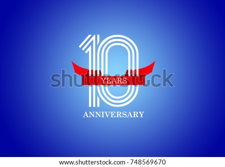 10 Years anniversary celebration with white color on blue background . - Shutterstock ID 748569670