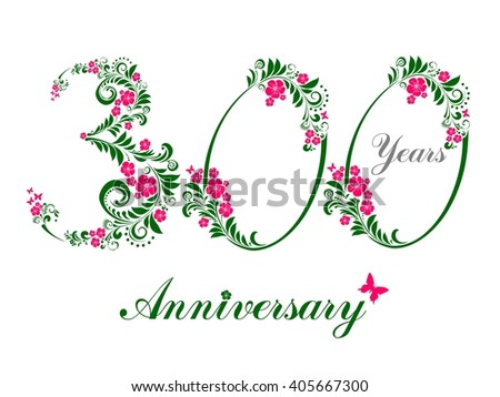300 years anniversary. Happy birthday card. Celebration background with number three hundred and place for your text.  illustration