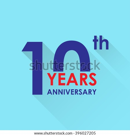 10 years anniversary icon. Invitation and congratulation design template. Flat style illustration of 10th anniversary emblem. - Shutterstock ID 396027205